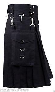Black Cargo Detachable Pockets CUSTOM Utility Kilt For Men(30 TO 52)