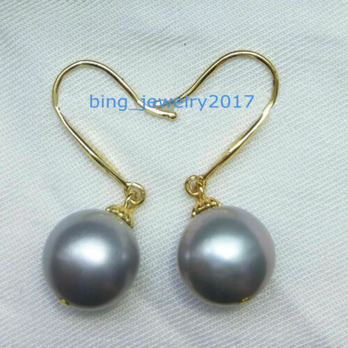 AAA 10-11mm real natural south sea gray Pearl Earrings 14K Yellow Gold