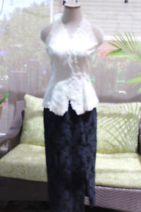 white brocade formal evening long dress