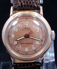 VINTAGE 1950 MIDO BUMPER AUTOMATIC ROSE GOLD COPPER DIAL STEEL WATCH SERVICE 817