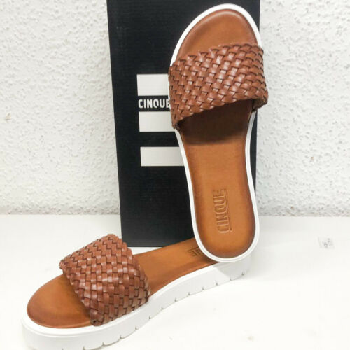 Cinque Sandale cognac braun Leder Lederfußbett
