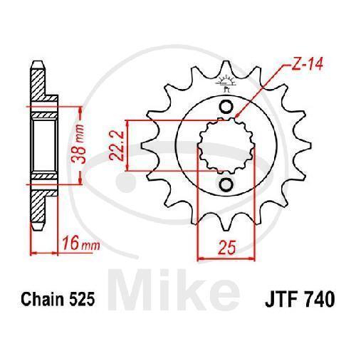 Piñón 15 Dientes Paso 525 JTF740.15