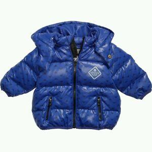 f3dab0108 NWT NEW Armani Junior baby boys blue logo down padded coat jacket 6m ...