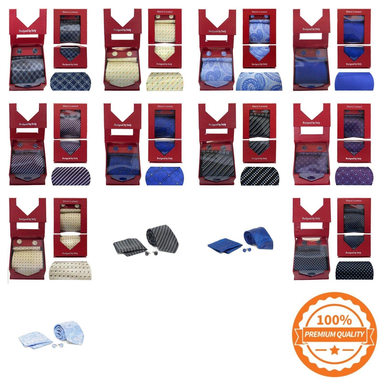 Mario Lorenzi Men's Tie with Matching Handkerchief / Pocket Square and Cufflinks