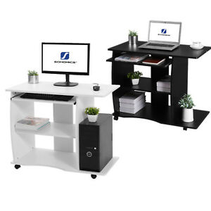 Movable Computer Desk Home Office Desk Pc Table With Keyboard 2