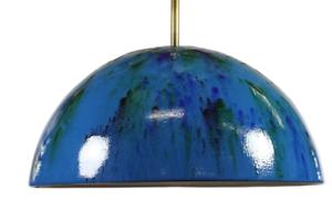 Emaillierte-Halb-Kugel-Pendel-Lampe-VTG-Emaille-Haenge-Leuchte-60er-Jahre-vintage