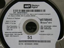 750 GB Western Digital WD7500AAKS-00RBA0 / HARNHA2AAB / OCT 2007 Hard Disk #01
