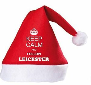Keep Calm And Follow Leicester Christmas Hat.Secret Santa Gift