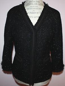 NWT-Womens-Talbots-229-Black-Sparkle-Wool-Blazer-Jacket-Size-6