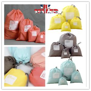 4 Pieces Drawstring Storage Gym PE Organiser  Bags Packing Travel Holiday UK