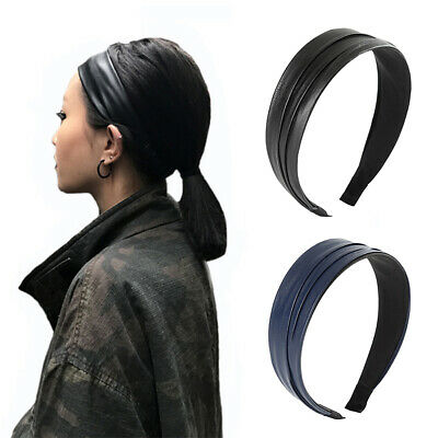 Faux Leather Hair Hoop Vintage Headband Pleats PU Leather Band Hair Band Black