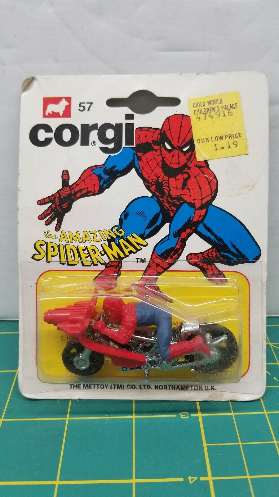 CORGI JR The Amazing Spider-Man vélo moto  No.57 Die-cast métal Angleterre  bénéfice nul