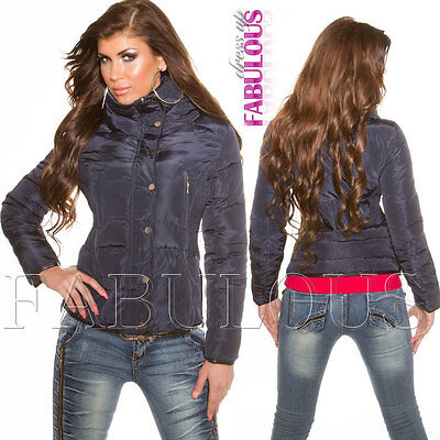 New Sexy Women's Bomber Jacket Warm Quilted Hooded Outerwear Size 8 10 12 S M L