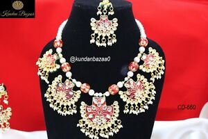 Indian-Meenakari-Kundan-Necklace-Earring-Set-Bollywood-Bridal-Wedding-Jewelry