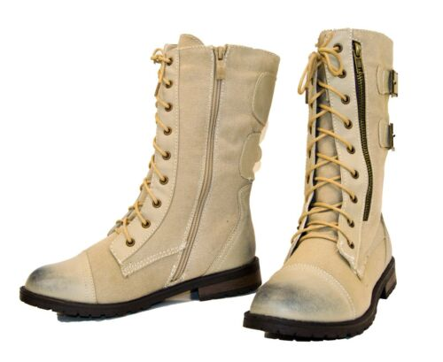 Women/'s Military Combat Lace Up Buckle Fabric Mid Calf Boots Shoes Low Heel