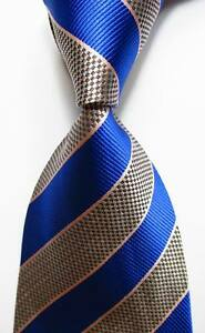 New-Classic-Striped-Blue-Black-Pink-White-JACQUARD-WOVEN-Silk-Men-039-s-Tie-Necktie