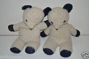 """2 RARE Vintage Cute 1950's Handmade 25"""" Teddy Bears Buddy's Forever Good/Fair"""