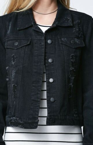 Denim S Ripped Black Bullhead Jacket Jean TE1fEqw