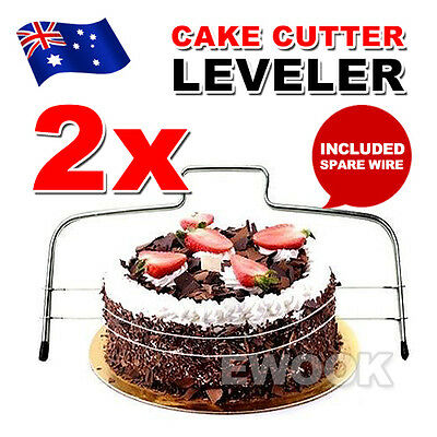 2x Cake Cutter Leveller Leveler Decorating Wire Slicer Cutting Decorator Tools