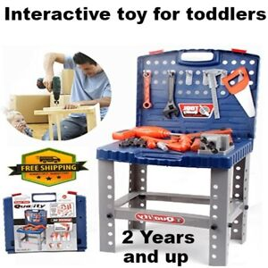 Fabulous Details About Kids Tool Set And Work Bench With Drill And Screws For Boys Workshop Playset Squirreltailoven Fun Painted Chair Ideas Images Squirreltailovenorg