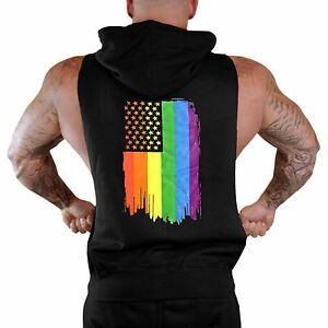 Mens Rainbow Pride Flag Sleeveless Vest Hoodie