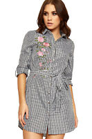 Womens Gingham Check Shirt Dress Ladies Button Collar Belt Floral Rose Print