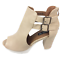 thumbnail 4 - Womens Ladies Beige Faux Leather High Heel Peep Toe Sandals Shoes Size UK 7 New