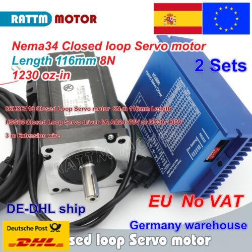 【EU】 2 set Nema34 8N.m Closed Loop Stepper Servo Motor 116mm 6A+HSS86 Driver CNC