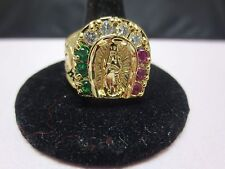 SIZE 13, 14 KT GOLD PLATED MENS LUCKY RELIGIOUS VIRGIN MARY 3 COLOR CZ RING