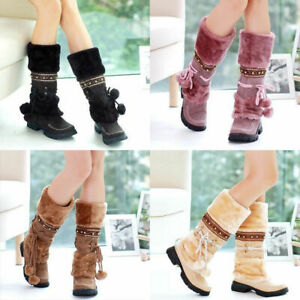 Fashion-Women-039-s-Boots-Winter-Warm-Snow-Boots-Thicken-Fur-Scrub-Suede-Flats-Shoes