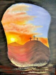 "ORIGINAL PAINTING "" CROSSES OF CALVARY"" OIL ON CANVAS BY ELIU RAMOS-SIGNED"