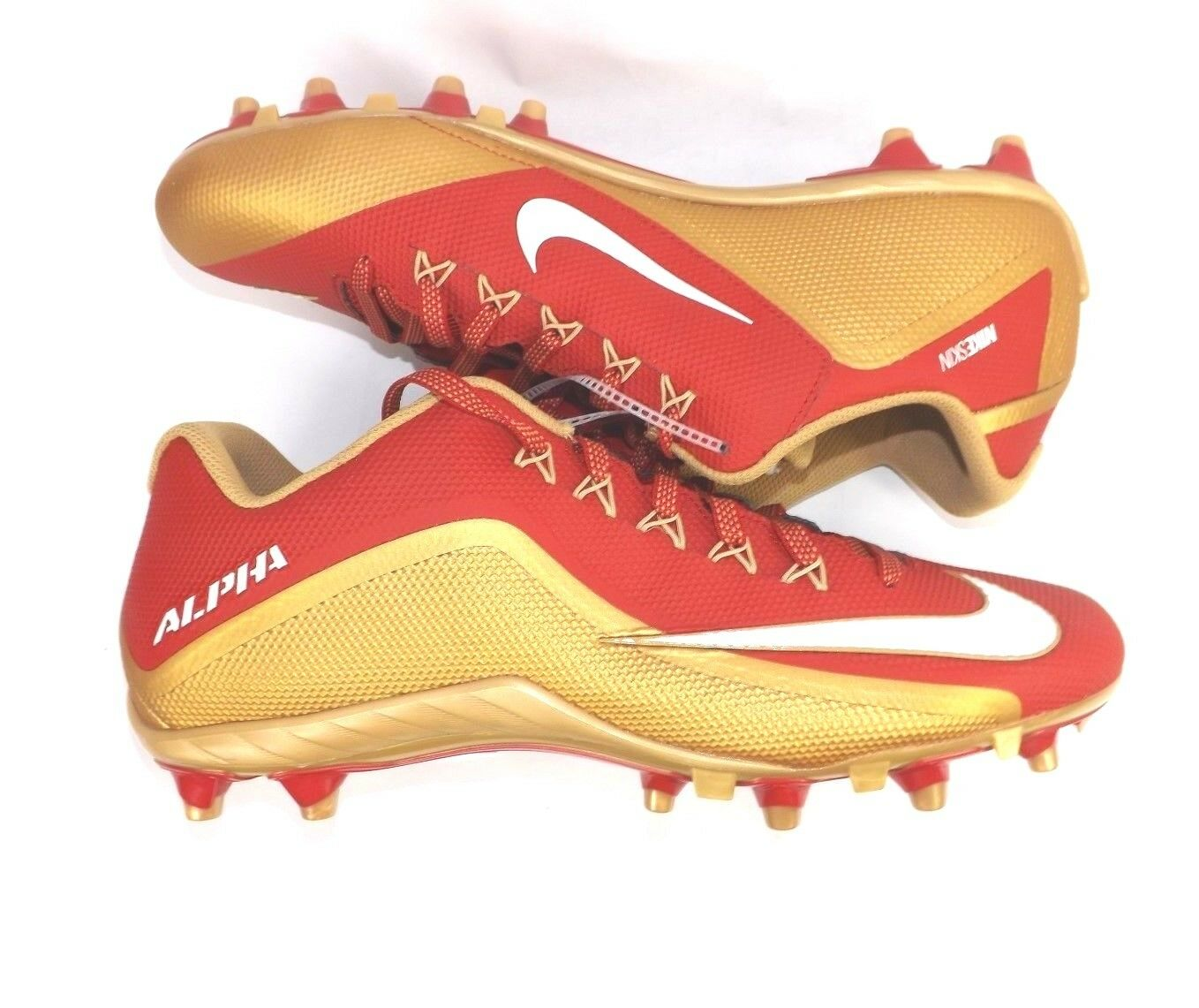 5042de5a7 NIKE Alpha Football Cleats Size 13.5 Red gold New Without Box 729445-628