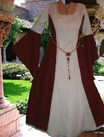 Medieval Gown Renaissance LOTR SCA Garb Costume Wine White Particolor 1pc LXL