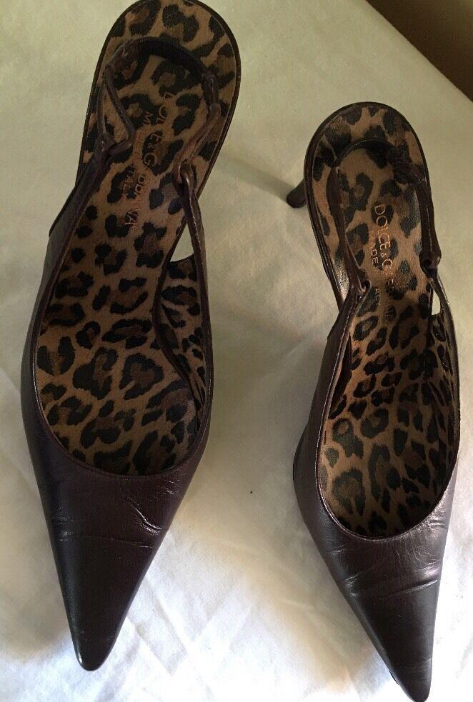 DOLCE & GABBANA BROWN Heel Leder Sling Back High Heel BROWN Pumps SZ 37 9ffb3a