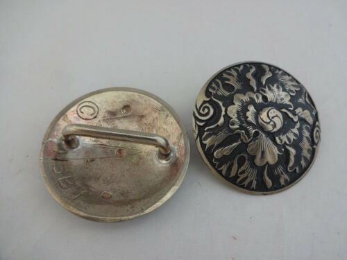 "Pair Jeremiah Watt White Bronze Peony Conchos 1 3//4/"" Bridle Loop Back Horse Tack"