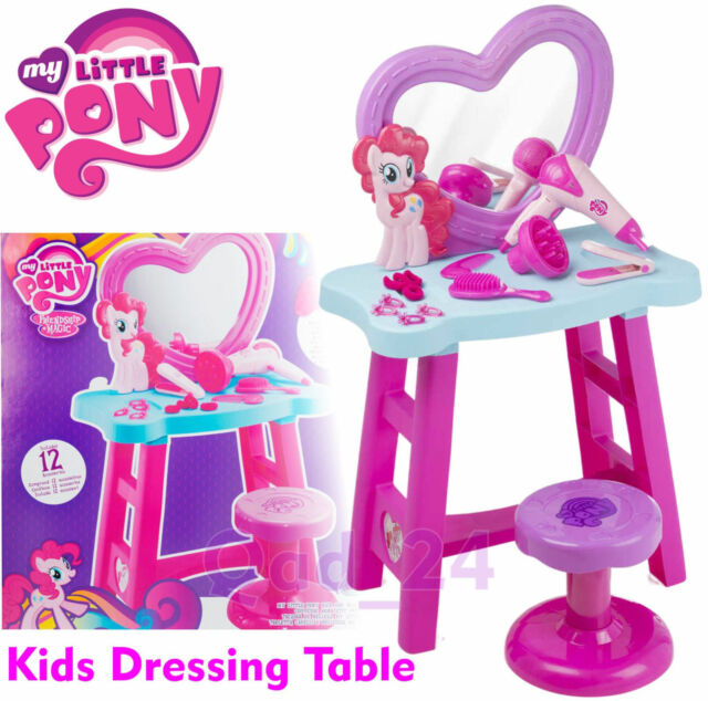 My Little Pony Dressing Table For Girls Mirror Stool Pretend Role Play Set  Kids
