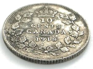 1918-Canada-10-Ten-Cent-Silver-Dime-Canadian-Circulated-George-V-Coin-L493
