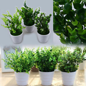 Image is loading Artificial-Eucalyptus-Leaves-Plant-Fake-Flower-Pot-Outdoor- & Artificial Eucalyptus Leaves Plant Fake Flower Pot Outdoor Garden ...