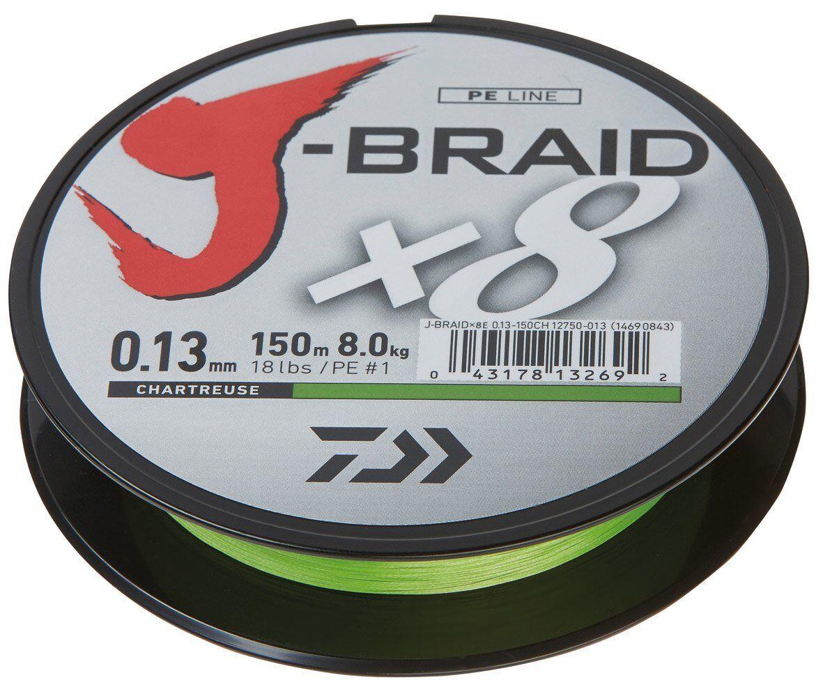 Daiwa J- Braid X8, chartreuse, 1500m - rund geflochtene Angelschnur