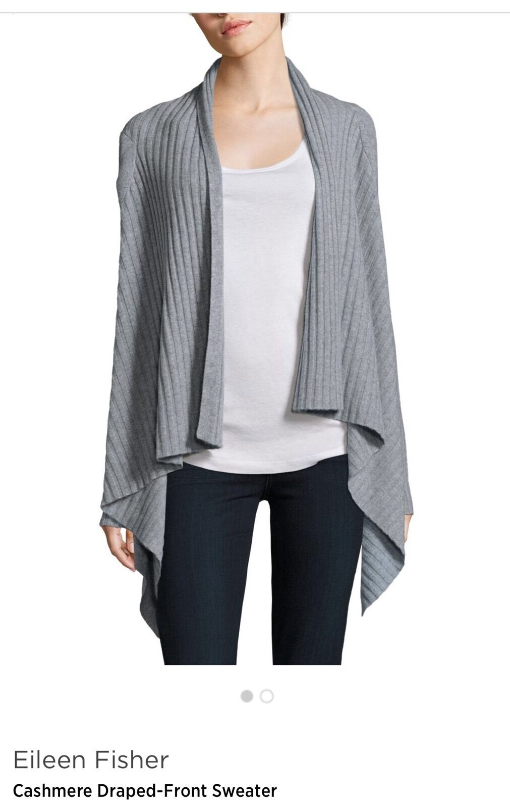 Eileen Fisher  NWT Cashmere Sweater Cardigan Moon color , L