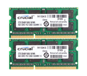 Crucial-8-GB-8-GB-2X-4-GB-4-G-PC3-12800-DDR3-1600-computadora-portatil-204pin-SO-DIMM-Memoria-RAM