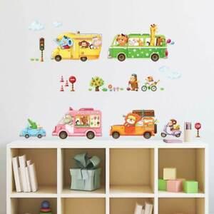 Wandtattoo Kinderzimmer Wandsticker Babyzimmer Autofahrt Der Tiere Auto Autos Ebay