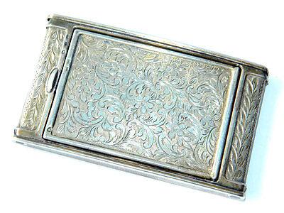 Art Nouveau Silver Ornate COMPACT Spring-loaded Powder Box Slim Silver Case