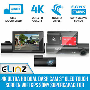 4K-Ultra-HD-Dual-Dash-Cam-3-034-OLED-Touch-Screen-WiFi-GPS-Sony-Supercapacitor