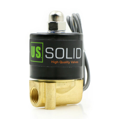 "S U Solid 1//4/"" Brass Electric Solenoid Valve 24V DC Normally Closed VITON"