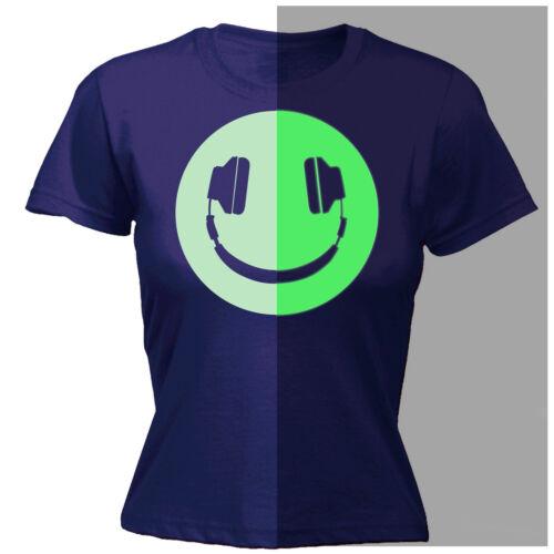 Glow in The Dark Headphone Smiling WOMENS T-SHIRT Rave Dj Funny birthday gift