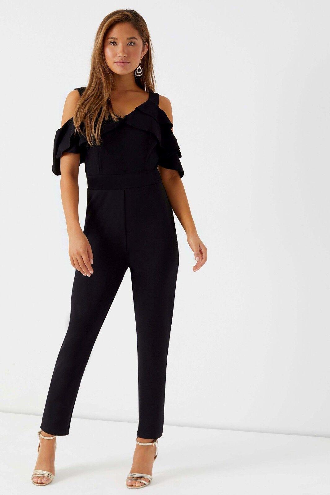 Lipsy Cold Shoulder Wide Leg Jumpsuit - Size UK10 , BNWT