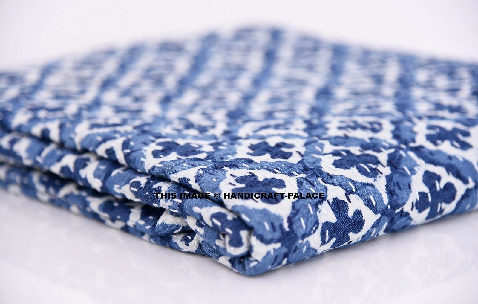 Twin Größe Kantha Bett StKunstseite indigo Blau Kantha Quilt Hand Quilted Throw Blanket