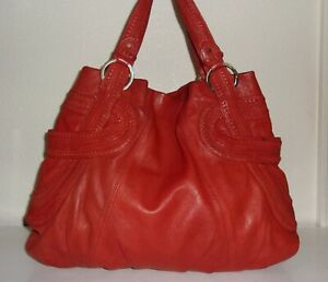 Junior-Drake-Orange-Leather-with-Woven-Braided-Trim-Purse-Handbag-Bag