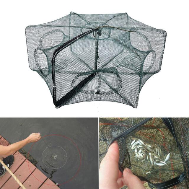 Portable Fishing Shrimp Fish Crab Yabbie Bait Trap Cast Dip Net Cage 6 Holes